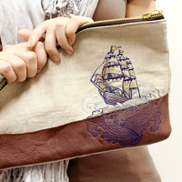Leather & Linen Tattoo Clutch_image