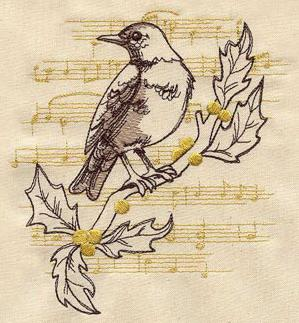 French Vintage Christmas Robin_image