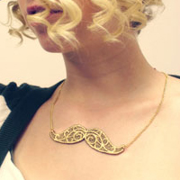 Gilded Lace Mustache Necklace_image