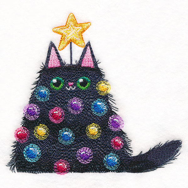 Lit Christmas Kitty  Urban Threads Unique And Awesome Embroidery Designs