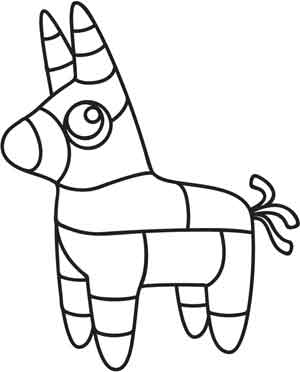 Donkey Pinata Outline Sketch Coloring Page