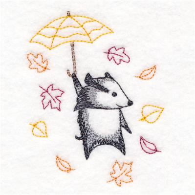 Blustery Autumn Badger_image