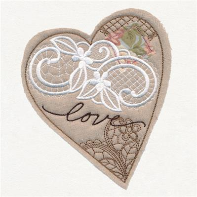 Antique Collage Heart (Applique)_image