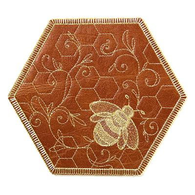 What's The Buzz Leather Coaster (In-the-Hoop)_image